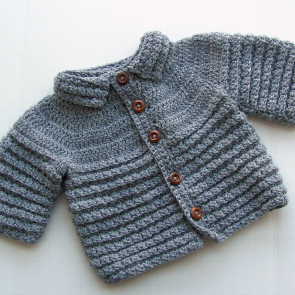 Italian Merino Wool Baby Sweater Cardigan Hand Knit For