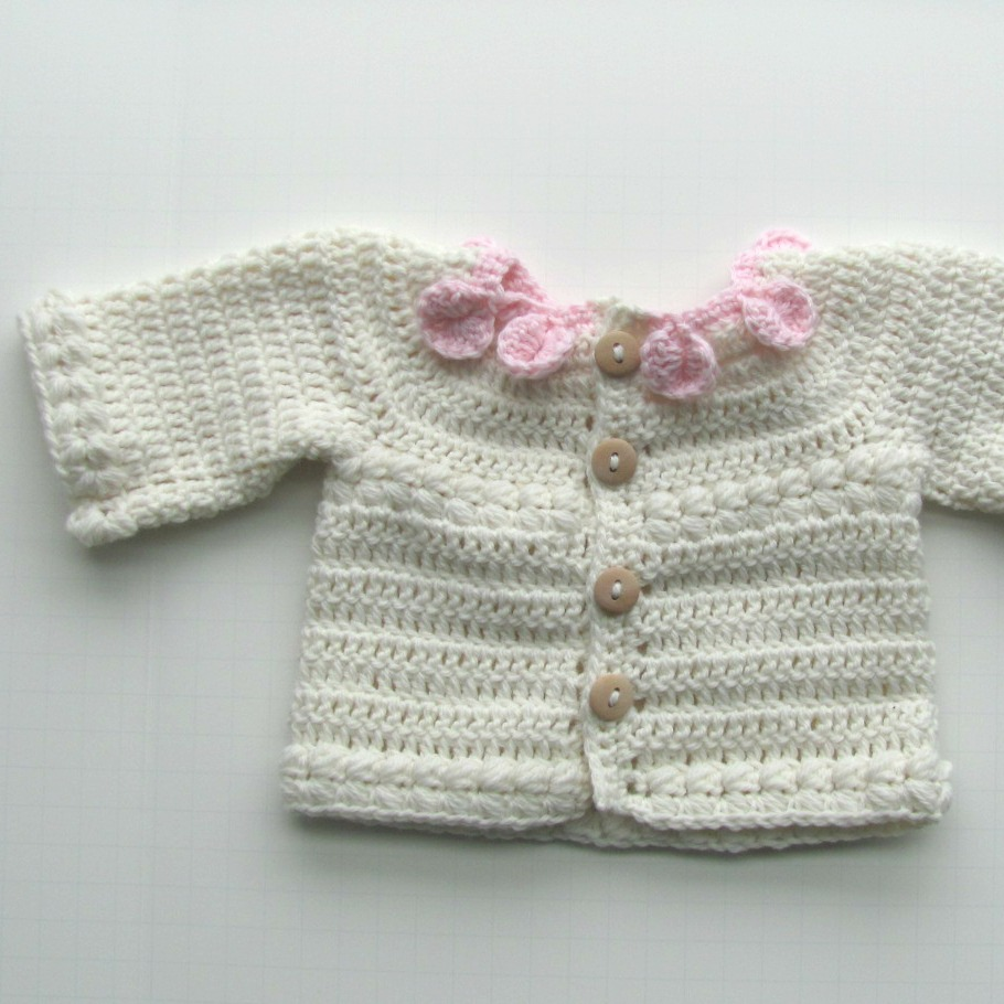 4a8e08386 Hand Knit Baby Sweater Cardigan Petal Girl Ruffle Pink White Shop Warm and  Woolly2